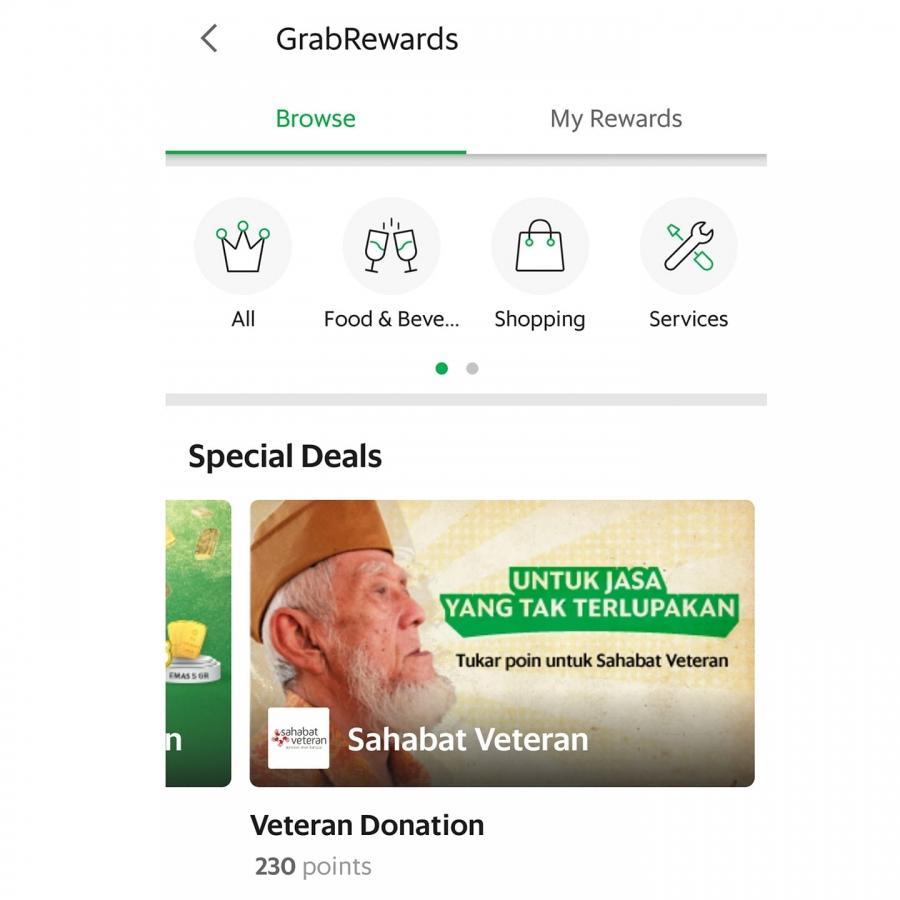 Tukar Grab Rewards untuk berdonasi ke Sahabat Veteran